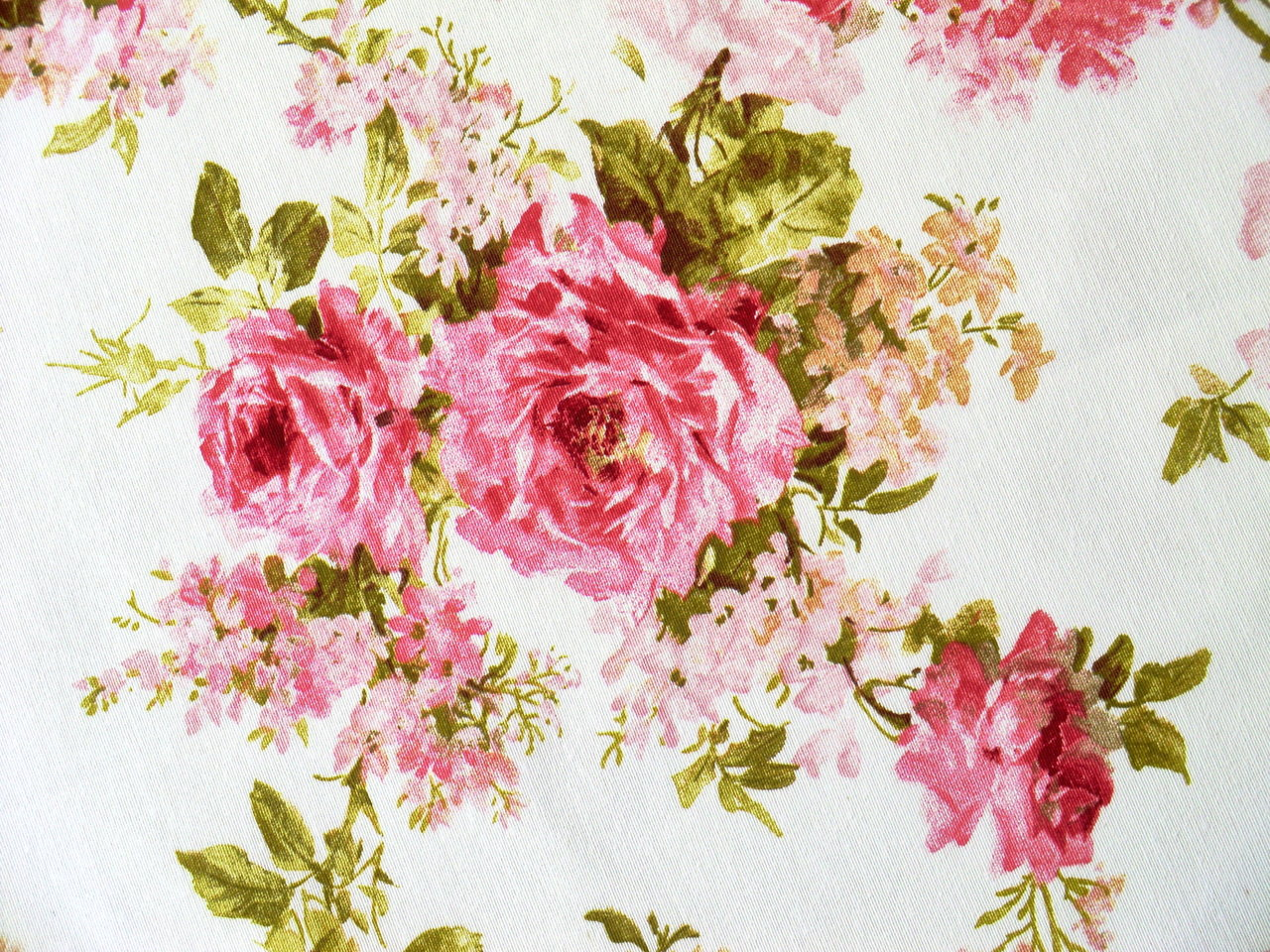 Upholstery Fabric Roses Pink White