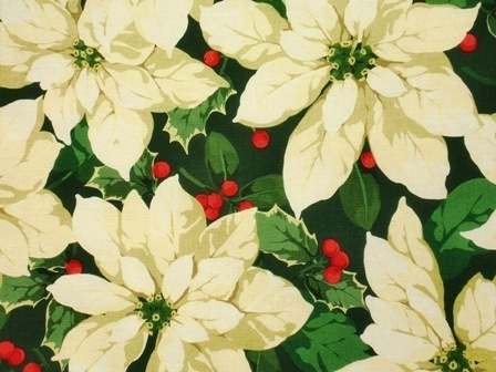 Christmas Fabrics Poinsettias Holly white