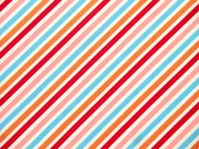 Cotton Fabric Stripes Sunshine red blue