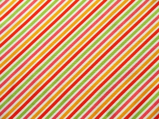 Cotton Fabric Stripes Sunshine orange green