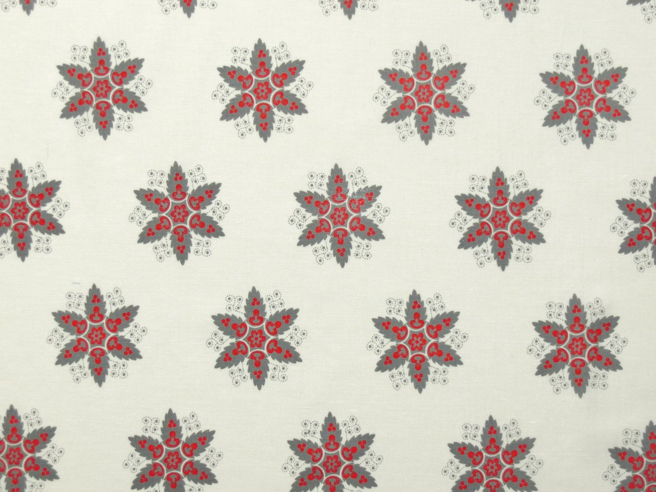 Patchworkstoffe Provence Sterne Grau Rot Creme