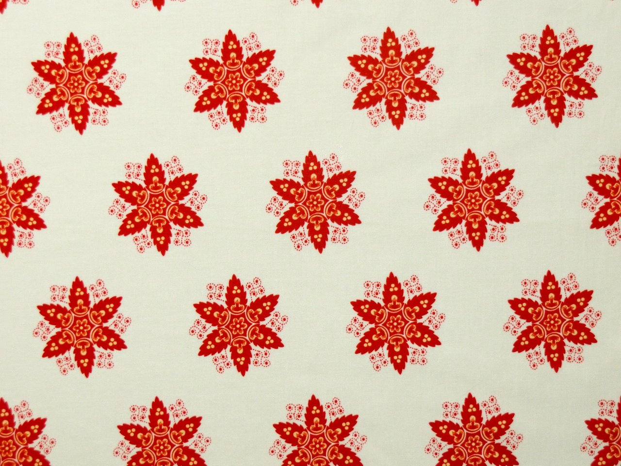 Cotton Fabric French Courtyard Stars Red Creme