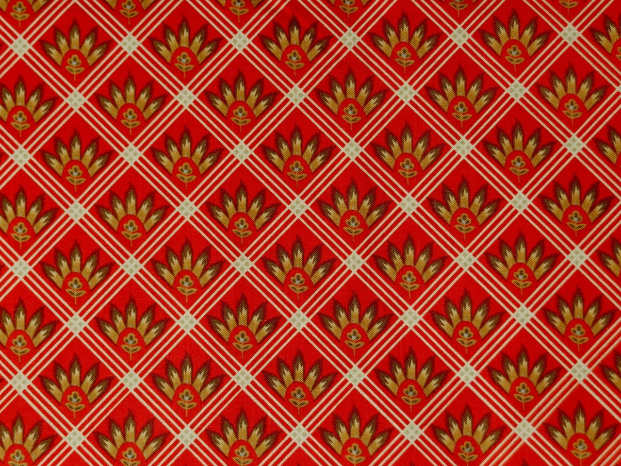 Patchworkstoffe Provence Frankreich Rot Gold Karos