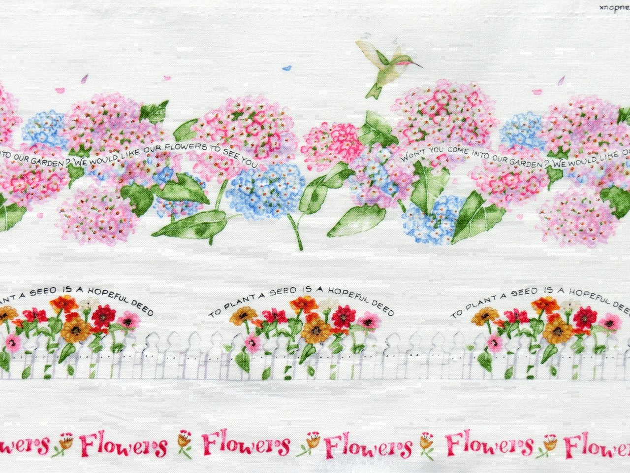 Sale Remnant Fabric Flowers Watercolor Border