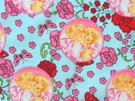 Cotton Fabric Angel Roses Butterfly pink blue