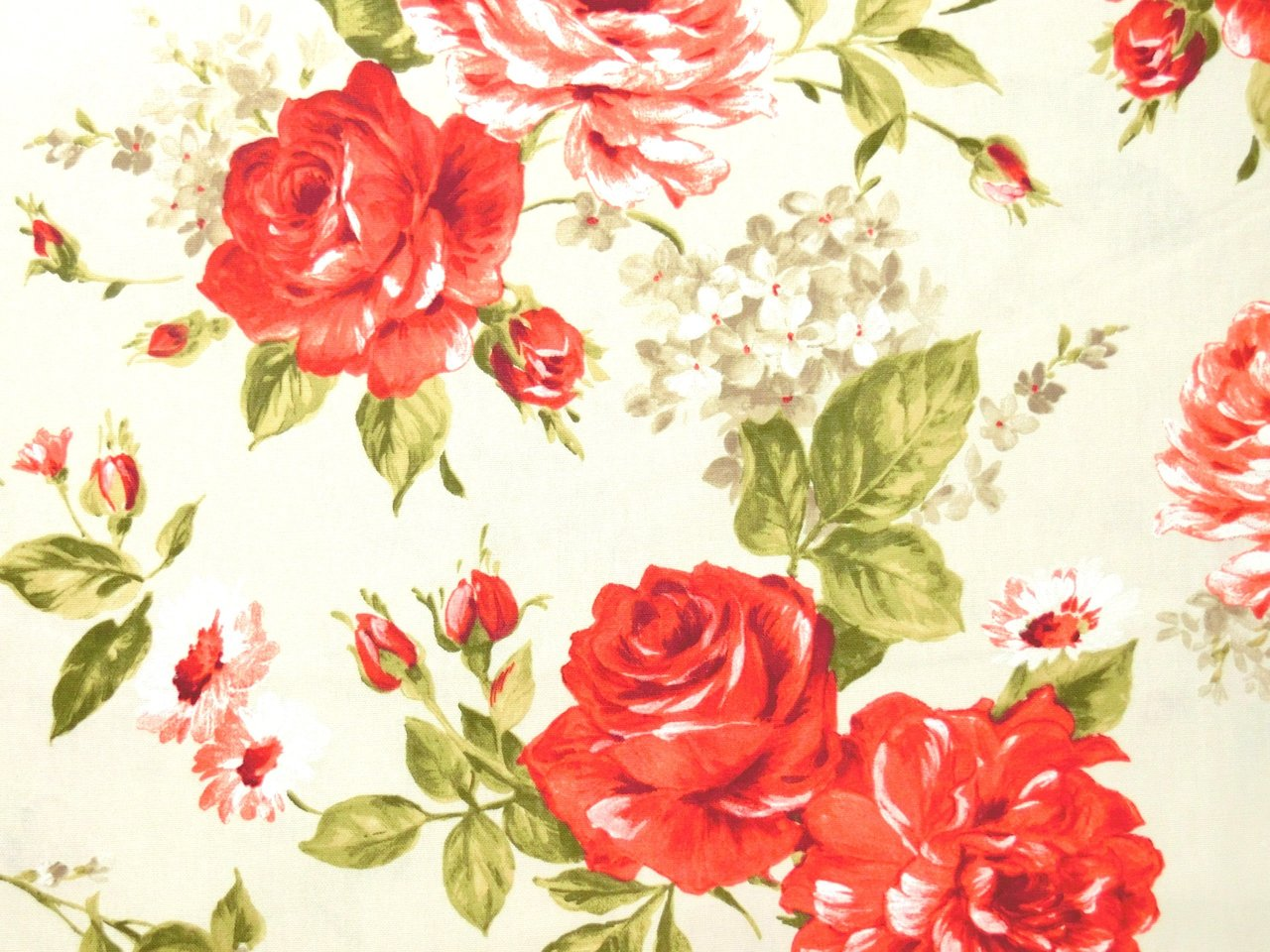 Red Roses on Creme Upholstery